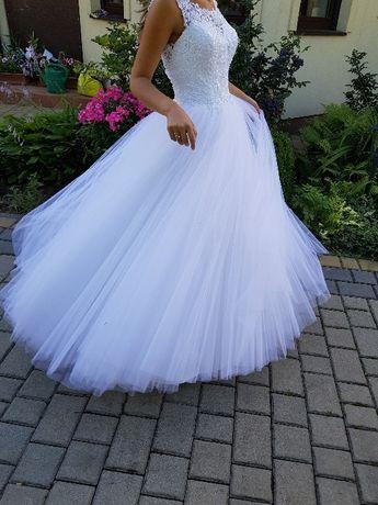 Suknia ślubna księżniczka XS - S jak nowa śnieżna biel tiul
