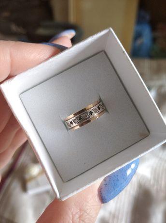 Кольцо серебро + золото