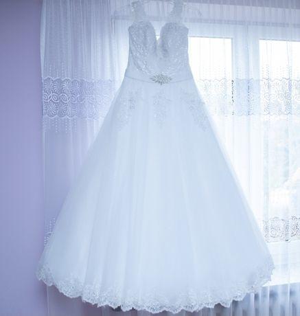 Piekna suknia ślubna rozmiar 34+welen gratis