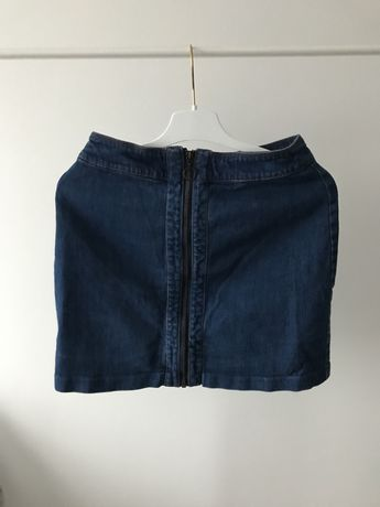 Spódnica H&M jeansowa suwak spódniczka z dżinsu elegancka do biura 36