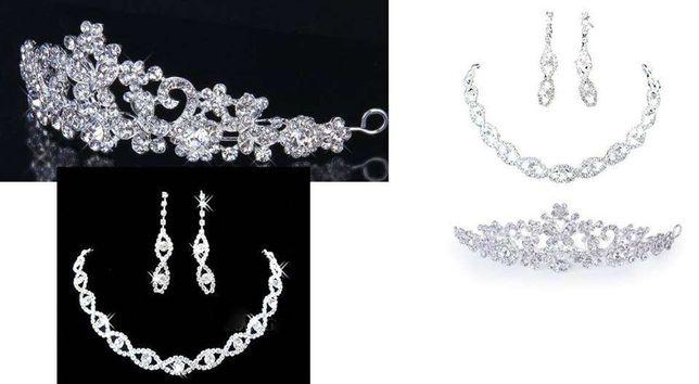 conjunto de noiva tiara, brincos e colar