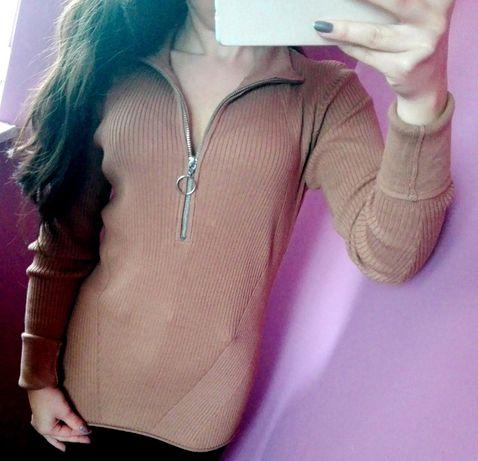 Sweter z zamkiem półgolf H&M jak Nowy carmel rozmiar XS S