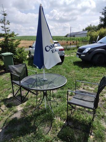 Komplet ogrodowy stół krzesła parasol