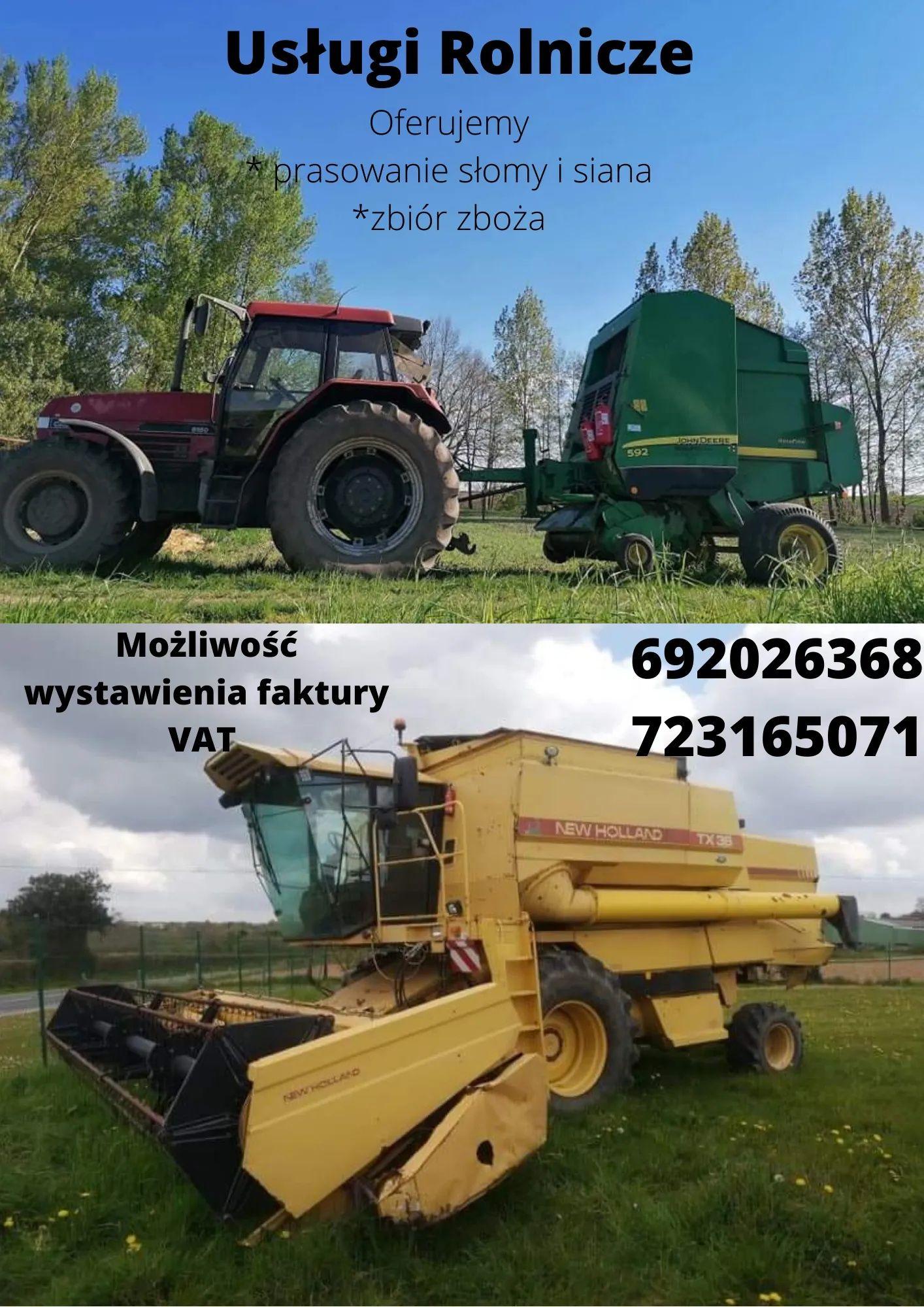 Usługi rolnicze prasowanie, zbiór zbóż Faktura VAT