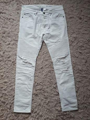 białe spodnie z dziurami H&M 38/40