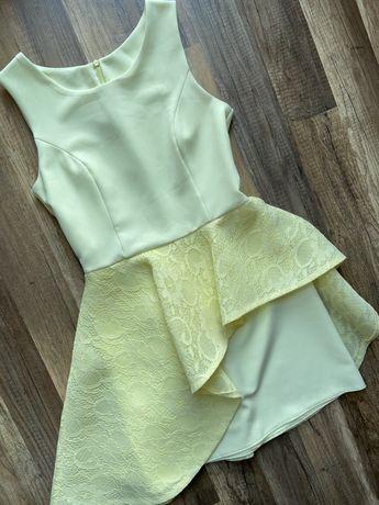 Żółta koronkowa sukienka w rozm. 36 S