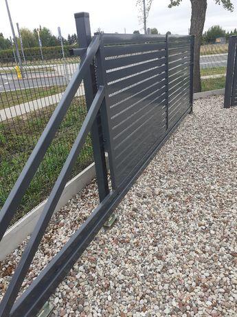 Brama Palisadowa przesuwna 4 mb Ocynk + Ral Nowoczesna 100x20 i 80x20