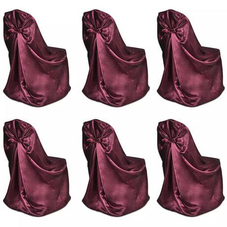 vidaXL Capa de cadeira para banquetes de casamentos, 6 pcs, bordô 241186