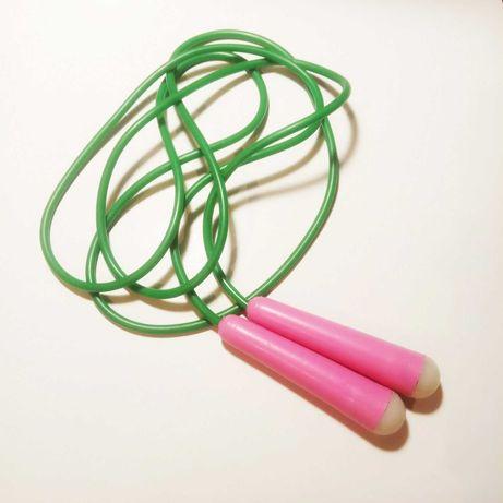 Детская скакалка 2 м, мягкий пластик, зеленый розовый
