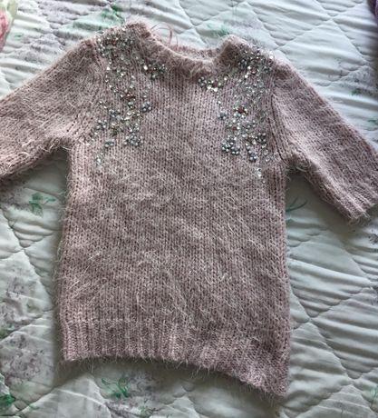 Sweter krótki rękaw różowy kamienie new look xs