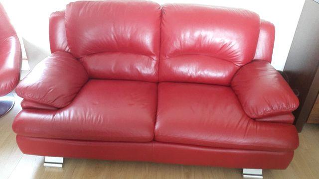 Sofa skóra naturalna 2osobowa+ fotel skóra naturalna AGATA MEBLE