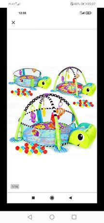 Mata dla niemowląt żółw 3 w 1, kojec, basen z piłkami