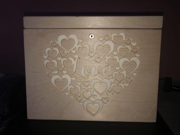 Drewniane pudełko na koperty ślub + zamek i kluczyk