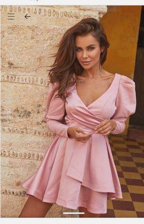 Sukienka Lou Miriam S XS pudrowy róż rozkloszowana z bufkami na wesele
