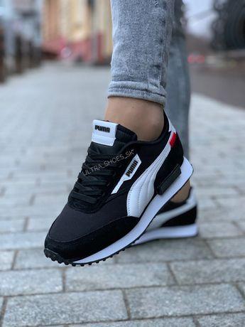 Puma кроссовки женские чёрные с белым