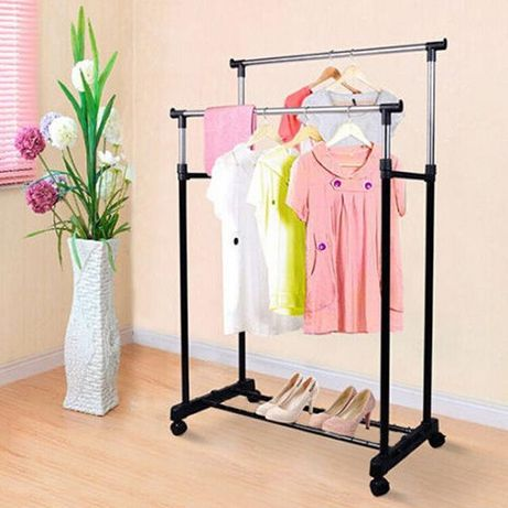 Телескопическая стойка-вешалка для одежды и обуви - Double Pole Clothe