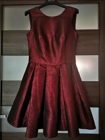 Sukienka bordowa połyskująca
