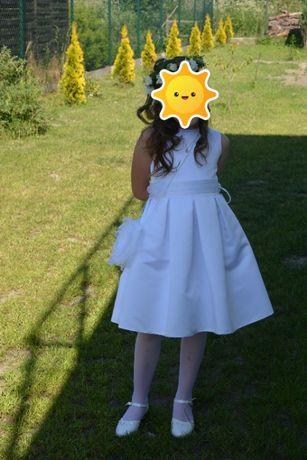 sukienka komunijna roz 140, bolerko, wianek, rękwiczki + buty gratis