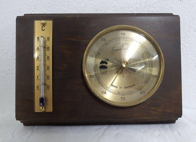 Drewniany niemiecki barometr z termometrem