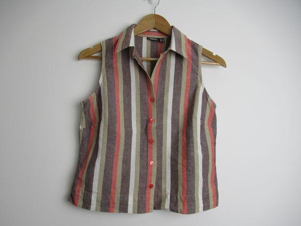 Lniana koszula crop top vintage Mexx len bawełna M/L