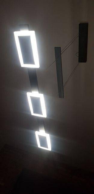 Lampa wisząca żyrandol LED 85 cm 30 watt białe czarne nowa pilot
