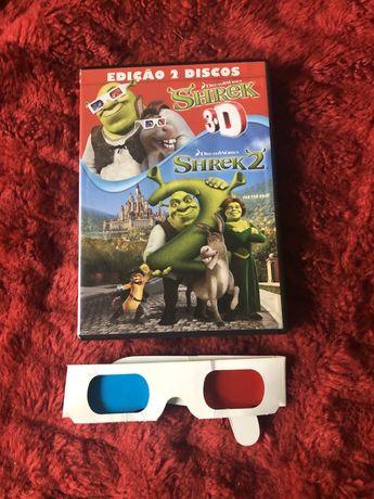 DVDs Shrek 2 3D com óculos