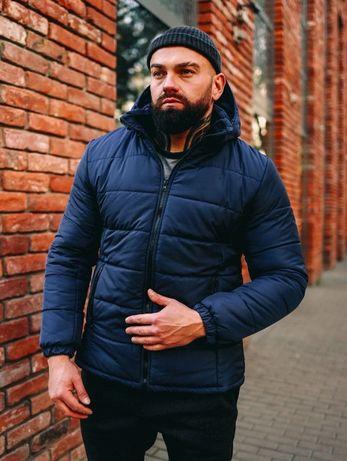Акция! Черная синяя бордовая куртка с капюшоном зимняя теплая пуховик