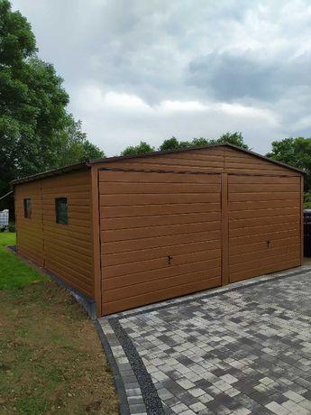 Garaż blaszany, garaż blaszak 6x5 Drewnopodoby ZŁOTY DĄB - PRODUCENT