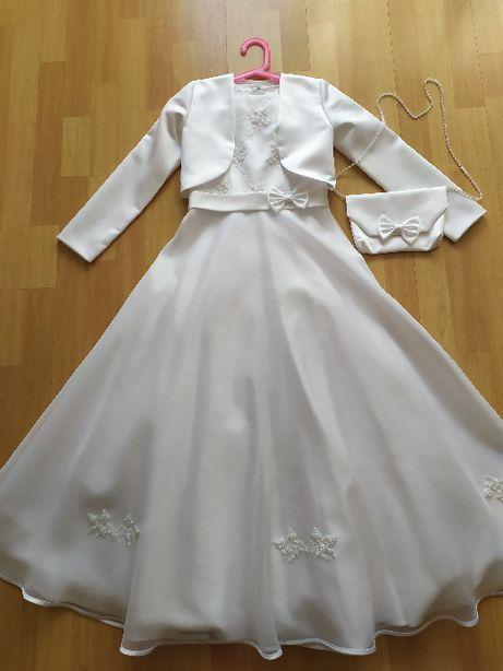 Sukienka komunijna z bolerkiem i torebką. rozm. 140cm.
