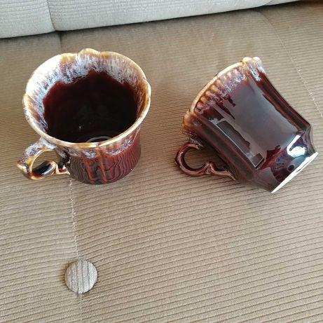 2 чашки фарфор глазурь коричневая, 300 мл