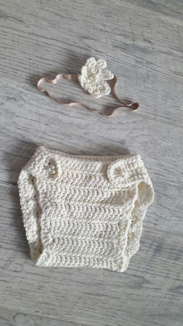 Реквизит для фотосессии новорожденных памперс трусики и повязка