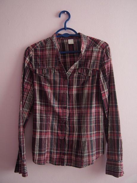 Bordowa koszula w kratę Camaieu 36/S