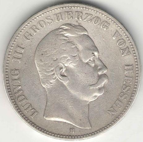 Германская империя 5 марок 1876 Гессен Людвиг III Редко