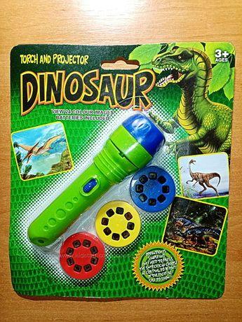 Диапроектор-фонарик Космос-Динозавры 3 диска -24 слайда