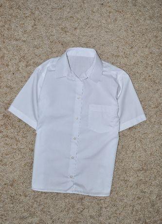 Классическая белая рубашка с коротким рукавом для мальчика 158 см