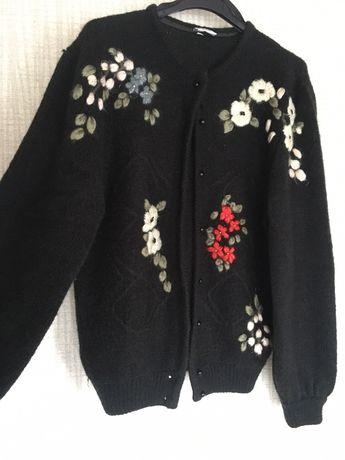 Sweter wełna hafty kwiaty M unikat Zara