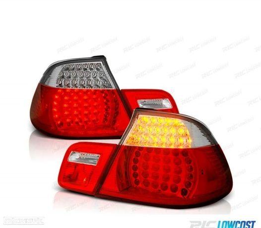 FARÓIS TRASEIROS LED BMW E46 CABRIO 99-03 RED CRYSTAL (VERMELHO CRISTAL)
