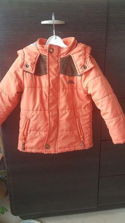 Pomarańczowa kurtka, kurteczka z kapturem, dłuższy tył 2-3latka