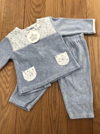 Pijama azul veludo 6 meses NOVO