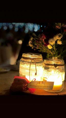 Słoiki, wystrój ślub i wesele rystykalne, świecznik, wazon