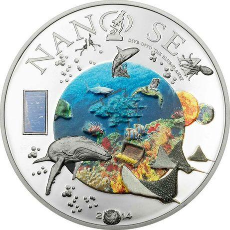 """10 долларов о-ва Кука 2014 года""""Nano Sea - Погрузитесь в голубую плане"""