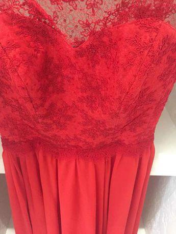 Вечернее ,выпускное платье,красное ,длинное ,с открытой спиной,кружево