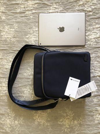 Модная мужская сумка LACOSTE в синем цвете