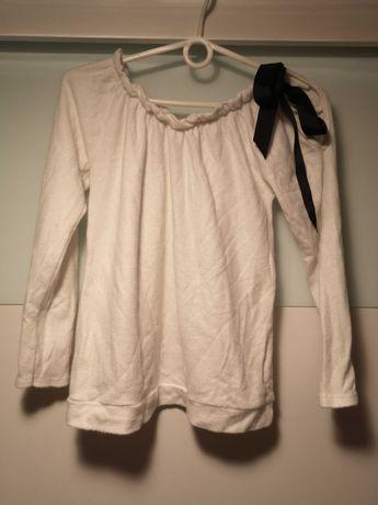 Bluzka sweterek biały kokarda