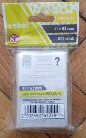Koszulki na karty, protektory 41x63 mm 100 sztuk Rebel Premium. NOWE