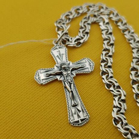 Хит продаж! Серебряная цепочка и крестик. Мужская цепь и кулон серебро