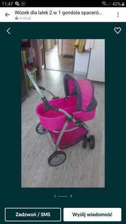 Wózek 2 w 1 gondola spacerówka wielofuncyjny skrętne koła dla lalek
