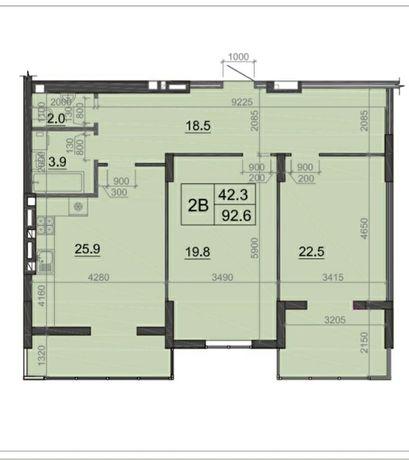 Великогабаритна двокімнатна квартира!