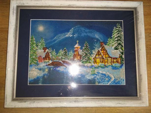 """Картина  бисером ,, Ночь Рождества"""""""