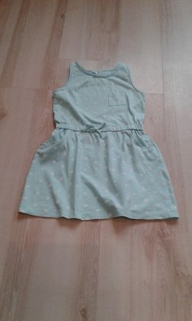 Sukienka zielona grochy druga gratis 122 / 128